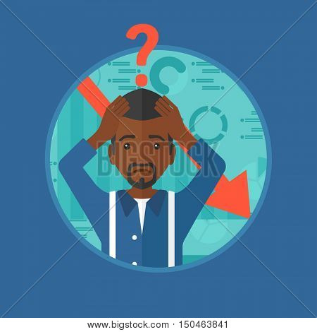 An african-american bankrupt clutching his head. Bankrupt with a big question mark above his head. Concept of business bankruptcy. Vector flat design illustration in the circle isolated on background.
