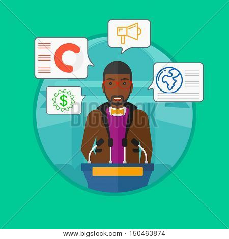 An african-american speaker standing at podium with microphones at business conference. Young happy man giving speech at podium. Vector flat design illustration in the circle isolated on background.