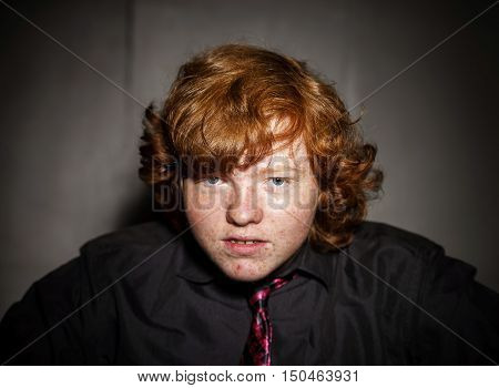 Emotive Portrait Of Red-haired Freckled Boy, Childhood Concept