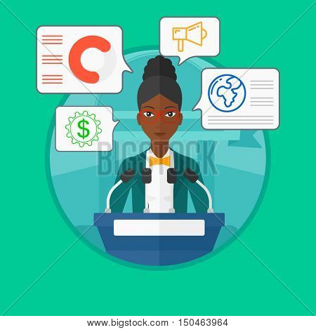 An african-american speaker standing at podium with microphones at business conference. Young woman giving speech at podium. Vector flat design illustration in the circle isolated on background.
