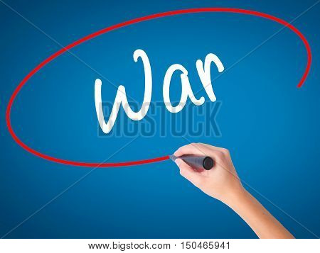 Women Hand Writing War With Black Marker On Visual Screen