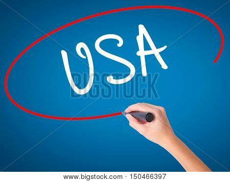 Women Hand Writing Usa With Black Marker On Visual Screen
