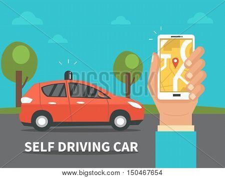 Self driving car concept. Vector flat illustration.