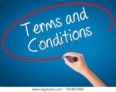 Women Hand Writing Terms And Conditions With Black Marker On Visual Screen