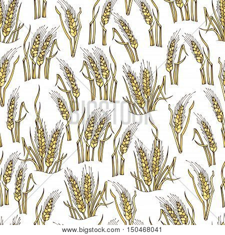 Vector Seamless Wheat Pattern.