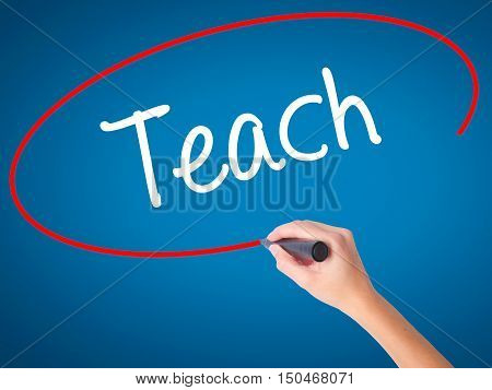 Women Hand Writing Teach With Black Marker On Visual Screen.