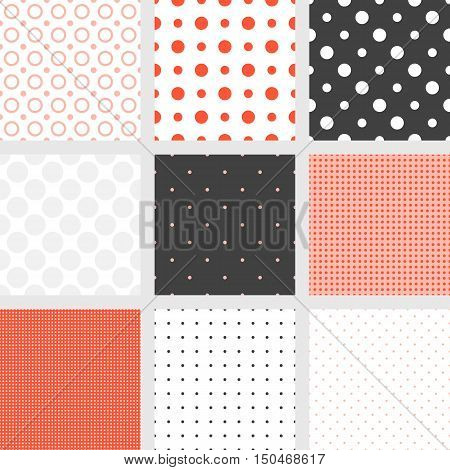 Seamless pattern Polka dot collection, circle pattern on plain background, for backdrop, design packaging, table cloth texture, fabric or use for background