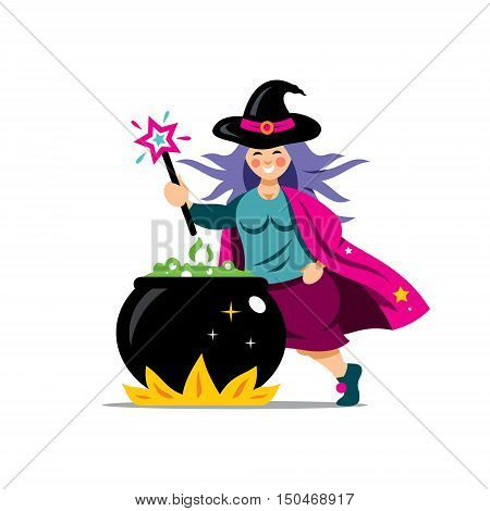 Wizard with magic wand prepares a potion. Isolated on a white Background