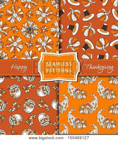 Vector Set Of Seamless Orange Thanksgiving Patterns.