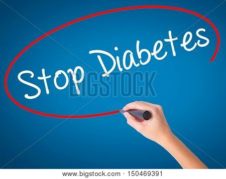 Women Hand Writing Stop Diabetes With Black Marker On Visual Screen