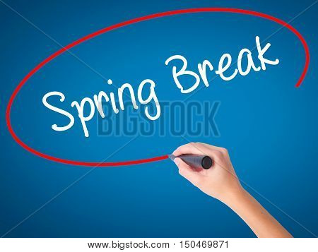 Women Hand Writing Spring Break No With Black Marker On Visual Screen