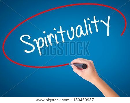 Women Hand Writing Spirituality With Black Marker On Visual Screen