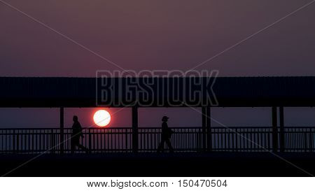 silhouette, bridge abstract, people walking, bridge silhouette, bridge night, silhuette people, people silhouette, art background, thailand people