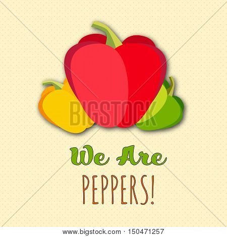 Sweet Bulgarian peppers vector set. Funny colored flat vegetables composition with text. Big red, yellow and green pepper, vector flat. Fresh vector vegetables. Raw peppers, flat illustration.