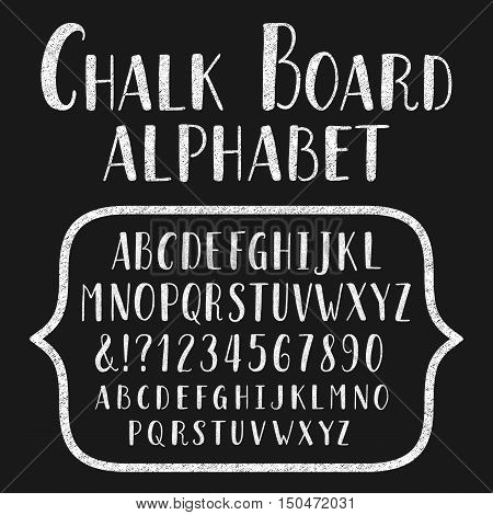 Chalk board typeface. Hand drawn alphabet. Vector font with small caps for labels, headlines, posters etc.