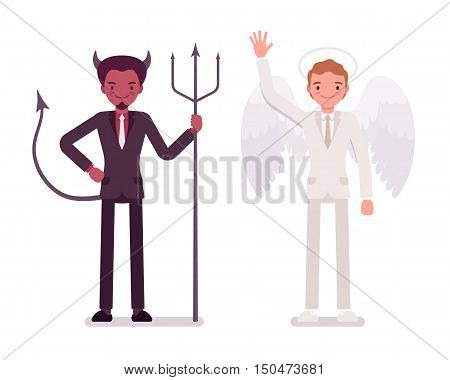 Male angel and devil in a formal wear. Cartoon vector flat-style illustration