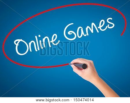 Women Hand Writing Online Games With Black Marker On Visual Screen