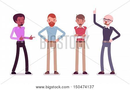 Set of male characters in a casual wear, different poses. Cartoon vector flat-style illustration