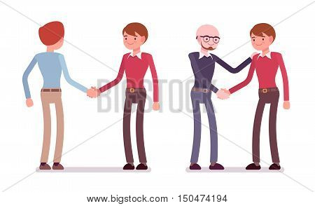 Set of male characters in a casual wear handshaking in pairs. Cartoon vector flat-style illustration