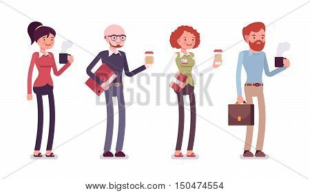 Set of people in a casual wear with coffee, folder, bag, mug. Cartoon vector flat-style illustration