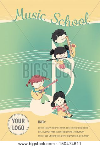 Music school poster vector - Flyer Design with children and many instrument. Vector template of invitation flyer poster or greeting card.