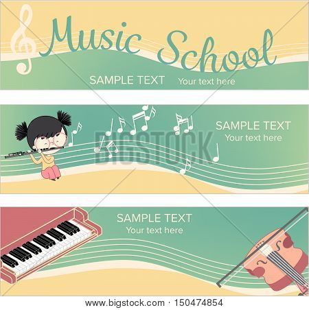 Musical instrument web banner template for children music school. Vector illustration with isometric hand drawn tools