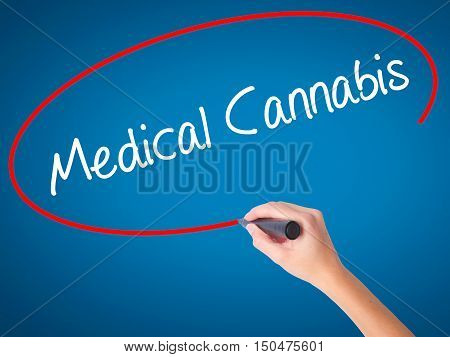 Women Hand Writing Medical Cannabis With Black Marker On Visual Screen