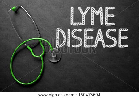 Medical Concept: Lyme Disease Handwritten on Black Chalkboard. Medical Concept - Lyme Disease Handwritten on Black Chalkboard. Top View Composition with Chalkboard and Green Stethoscope. 3D Rendering.
