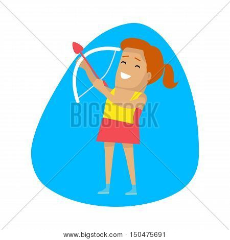 Woman archery, sports icon. Female athlete in sports uniform practicing archery. Olympic species of event. Vector pictograms for web, print and other projects. Summer olympic games symbols