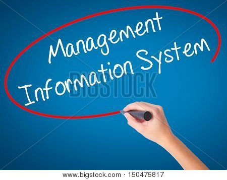 Women Hand Writing Management Information System With Black Marker On Visual Screen.