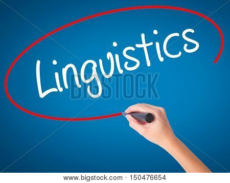 Women Hand Writing Linguistics  With Black Marker On Visual Screen