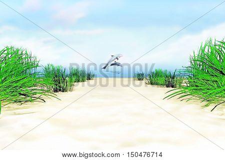 On the sea shore. Dolphins over a water surface. 3D illustration