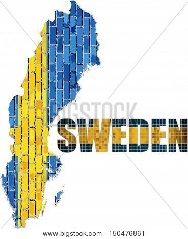 Sweden map on a brick wall - Illustration,  Font with the Sweden flag,  Map of the Swedish with flag inside,  Abstract grunge Swedish flag in brick style