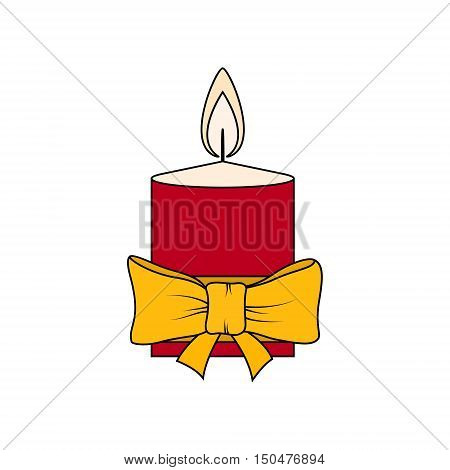 Colorful Christmas Festive Candle Isolated on White Background, Christmas Decorations, Merry Christmas and Happy New Year, Vector Illustration