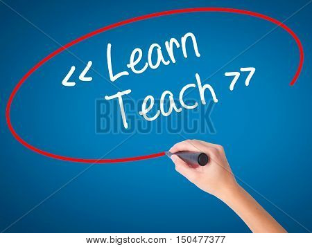 Women Hand Writing Learn - Teach With Black Marker On Visual Screen.