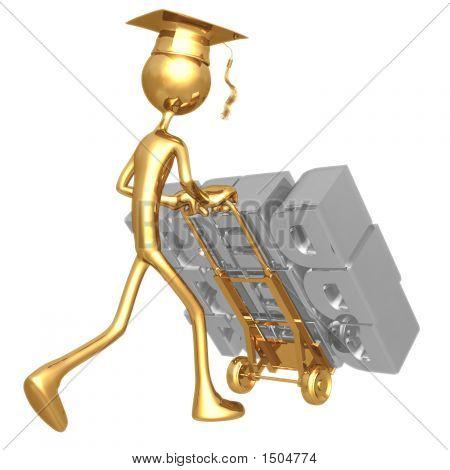 Golden Grad Stack Of Debt On Dolly Graduation Concept