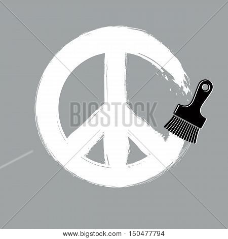 Hand-drawn vector peace sign from 60s made with brushstrokes.