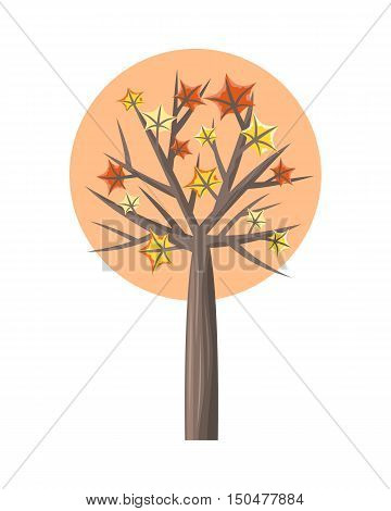 Maple tree with falling leaves round icon. Tree forest, leaf tree isolated, tree branch, plant eco branch tree, organic natural wood illustration. Falling autumn leaves. Maple icon.