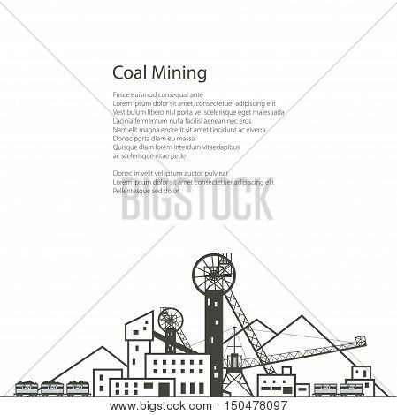 MIne Complex Industrial Facilities with Spoil Tip and with Rail Cars, Coal Industry, Poster Brochure Flyer Design , Vector Illustration