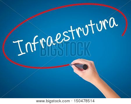 Women Hand Writing Infraestrutura (infrastructure In Portuguese) With Black Marker On Visual Screen.