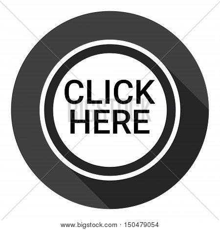 Click Here Button Web Icon Flat Vector Illustration