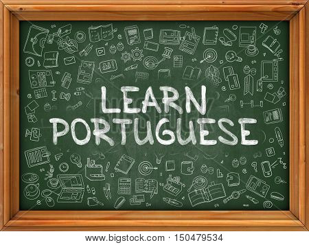 Hand Drawn Learn Portuguese on Green Chalkboard. Hand Drawn Doodle Icons Around Chalkboard. Modern Illustration with Line Style.