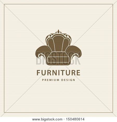 Furniture logo template. luxury universal premium design. Interior logotype symbol. Style line emblem of chair. Armchair sign for your business. Vector illustration