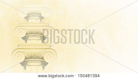 Greek columns. Ionic columns background design. 3D illustration