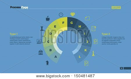 Circle diagram with twelve options. Presentation element, pie chart, business diagram. Concept for infographics, business templates, reports. Can be used for topics like business project, analysis