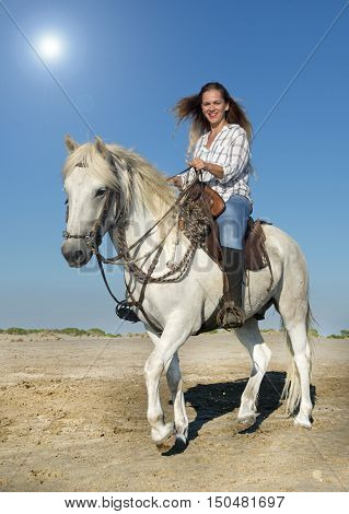 horse woman and her Camargue horse on the beach