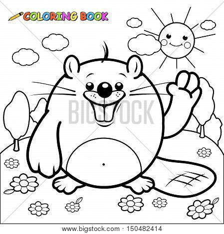 Vector Illustration of  a cute beaver in a field of flowers.