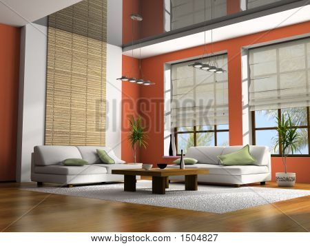 Home interior with table and sofas 3D rendering poster