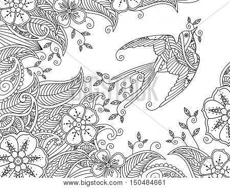Coloring page with beautiful flying bird and floral background. Good quality coloring book for adult and children. Horizontal composition. Editable hand drawn vector illustration.