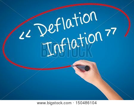 Women Hand Writing Deflation - Inflation With Black Marker On Visual Screen.